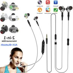 2-in-1 Wireless Bluetooth Headset & Wired Stereo Headphones