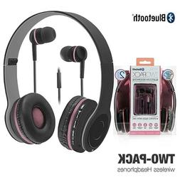 2in1 Bluetooth Wireless Stereo Headphones + Wired Earbuds Fo