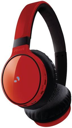 Philips SHB9100 Red Wireless Bluetooth Over-the-Head Stereo